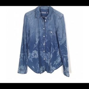 Gap Floral Denim Shirt - Large